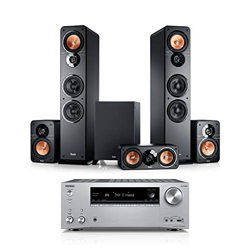 Teufel Ultima 40 Surround AVR 5.1-Set Schwarz / Silber Heimkino Lautsprecher 5.1 Soundanlage Kino Raumklang Surround Movie High-End HiFi