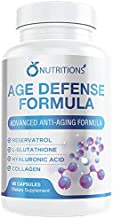 Age Defense Formula with Glutathione,Resveratrol, Hylauronic Acid,Collagen for Anti-Wrinkle and Younger Looking Skin