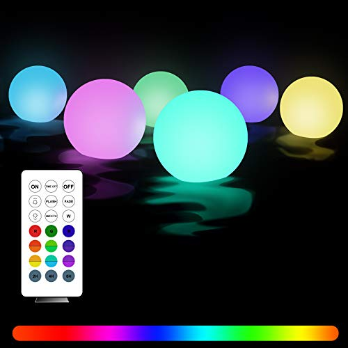 Floating Pool Lights with Timer, StillCool 6PCS Battery Powered Wateproof 16-Color Changing 3.1inch Ball Night Lights with Remote, Float or Hang in Garden Backyard Pond Pathway Party Decorations