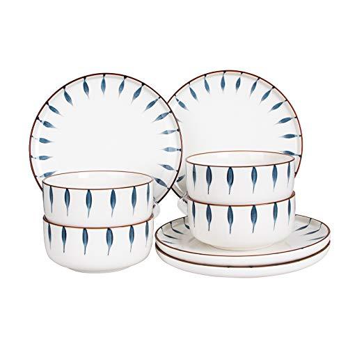 CSYY Geschirr Set aus Steingut, 8 teilig, Geschirrservice für 4 Personen, Teller-Set aus Porzellan, Premium Runde Geschirrset mit Schüsseln, Essteller,Blau und Weiß