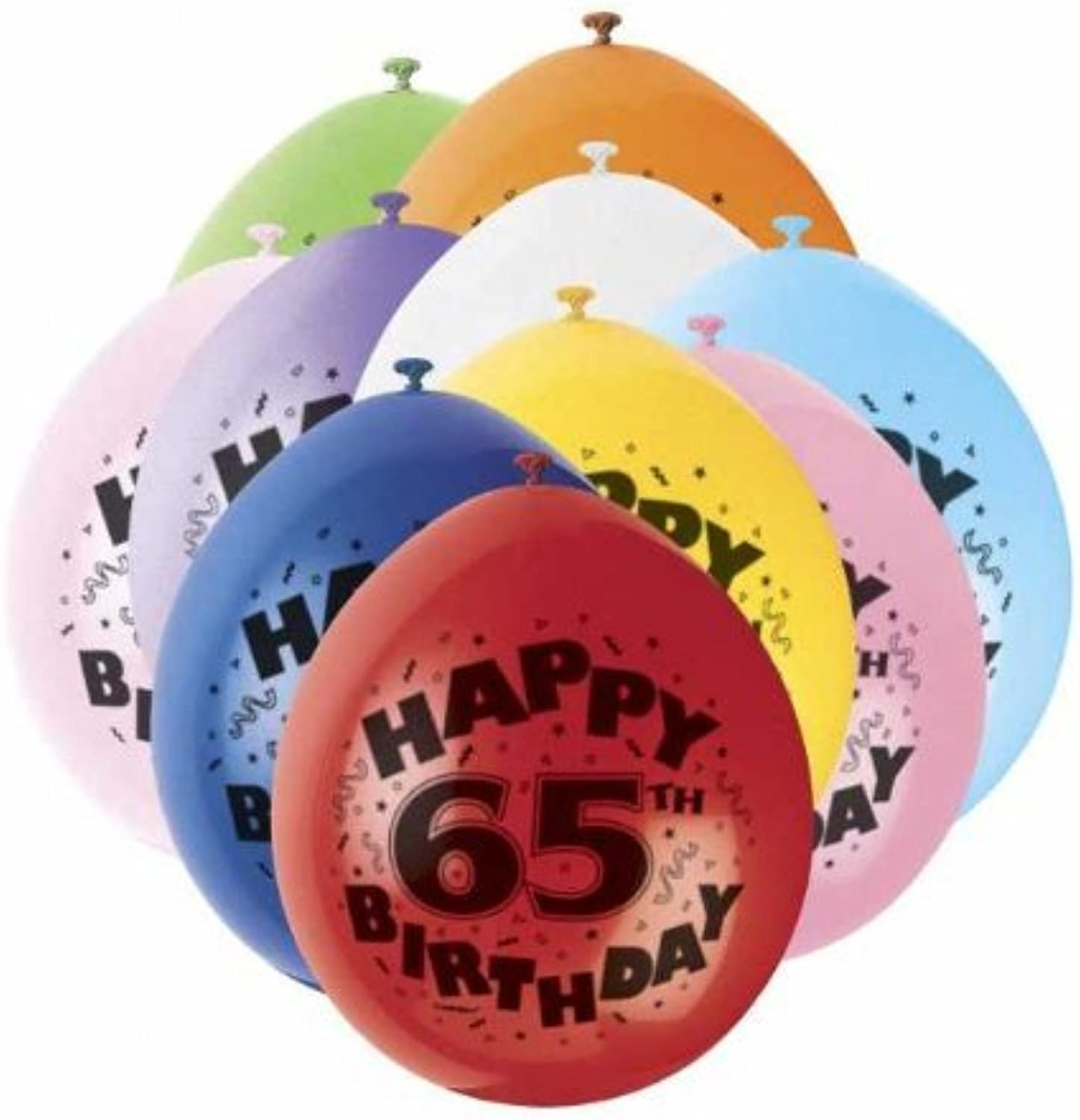 65th Happy Birthday Latex Balloons 10pk by Party Bags 2 Go