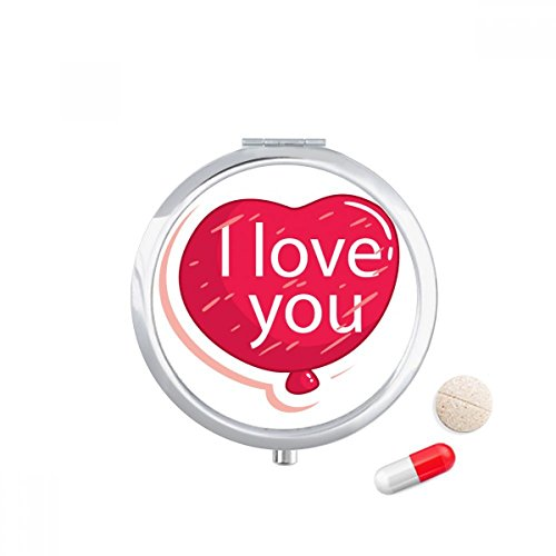 DIYthinker Valentijnsdag Roze I Love You Balloon Travel Pocket Pill case Medicine Drug Storage Box Dispenser Mirror Gift