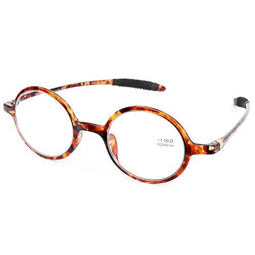 DOOVIC Havana Lesebrille Schildkröte/Rund Rahmen Anti Rutsch Leicht Flexible Brille mit Stärke für Damen/Herren 2,5