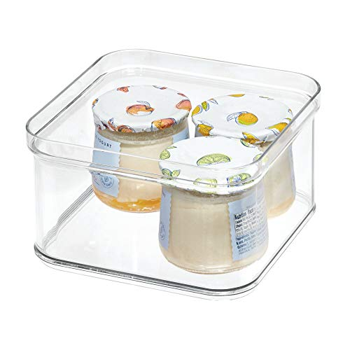 iDesign frigorífico (16,1 x 16,1, Caja de plástico Libre de BPA, Organizador de Nevera o para la Cocina, Transparente, 16,1 cm x 16,1 cm x 9,6 cm