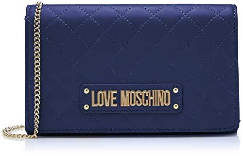Love Moschino Damen Quilted Nappa Pu Clutch, Blau (Blu), 15x10x15 Centimeters