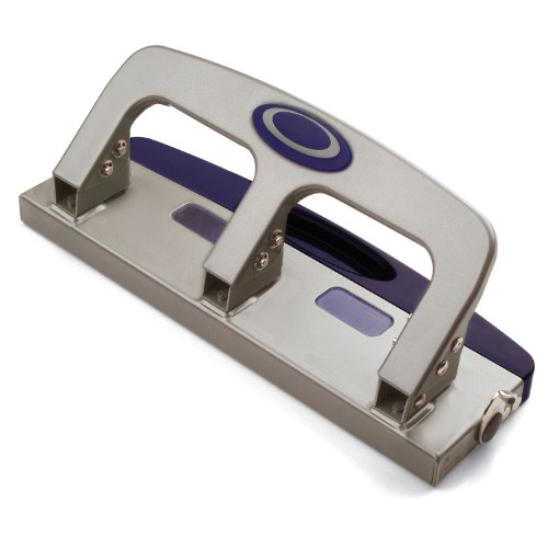 Officemate Deluxe Medium Duty 3Hole Punch with Chip Drawer Silver and Navy 20Sheet Capacity 90102