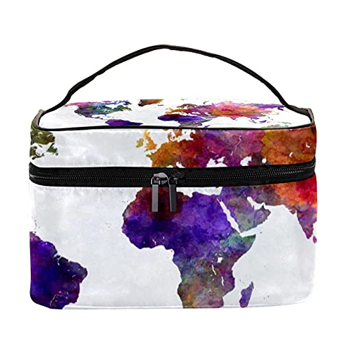 World-Map-in-Watercolor Purple-and-Blue Travel Makeup Bag Large Cosmetic Bag Makeup Case Organizer Zipper Toiletry Bags for Women Girls