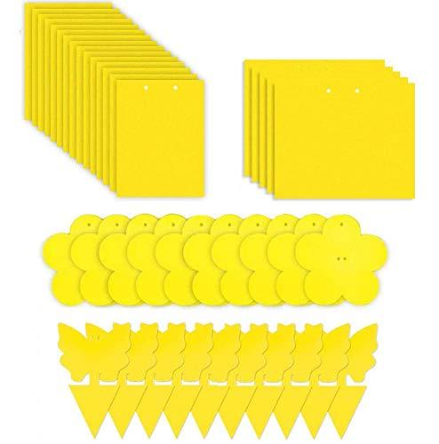 Evance 80 Piezas Trampas de Mosca Pegajosas de Doble Cara Amarillas para Insectos de Planta, Trampas Adhesivas Dobles(Amarilla)