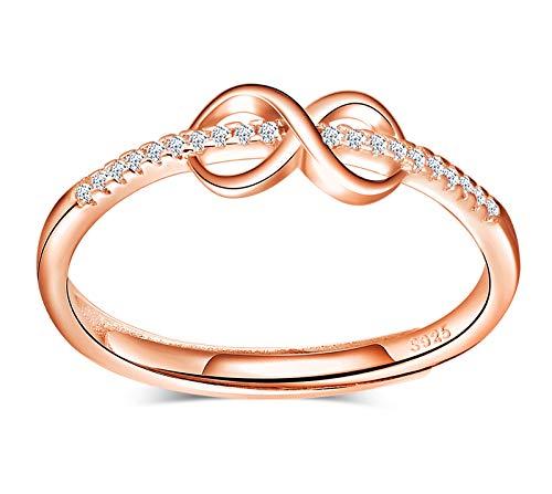 INFINIONLY Anillos ajustable para mujer niña, anillo abierto de plata esterlina 925, anillo símbolo de infinito, Anillo de bodas, incrustación de zirconia, anillo de compromiso