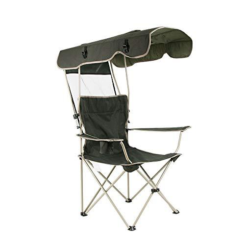 NACEO vouwstoel met schaduw luifel draagbare vissen strand stoel, kamp stoelen outdoor vrije tijd beste keuze producten, paraplu gesp opslag donker groen