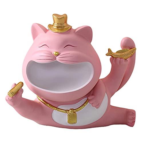 FLAMEER Figuras de Animales Resina Gato de la Suerte Caja de Almacenamiento de Escultura Diversos Organizador Muebles artesanías decoración del hogar - Rosa