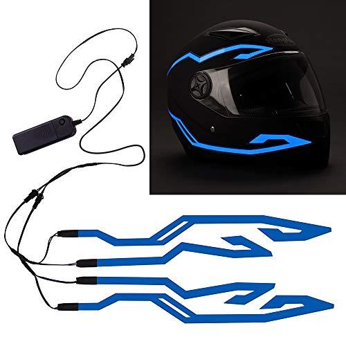 JIGUOOR Motorradhelm Licht, 4-teiliger wasserdichter LED-Aufkleber EL Light Flash Strip Kit, Motorradlichtstreifenleiste Fahrsignal Sicherheits-LED-Licht für Nachtfahrten Dekorationssatz(Blau)