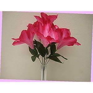 Artificial 2 Bushes Beauty Amaryllis Artificial Silk Flowers 16″ Bouquet 6-647bt Bouquet Realistic Flower Arrangements Craft Art Decor Plant for Party Home Wedding Decoration