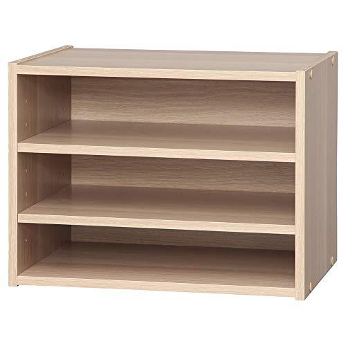 Marca Amazon - Movian Estante / unidad de almacenamiento apilable 3 pisos en madera - Caja de almacenamiento apilable de madera modular STB-400T - Roble claro, 40 x 28,7 x 30,5 cm de ancho