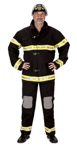 Adult Fire Fighter Suit with Helmet Costume in Black Size: Large (5'8″-6'2″)