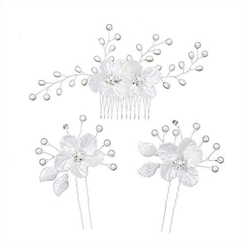 Niumanery 3 Pcs/Set European Style Bridal Headdress Set Handmade Pearl Rhinestone Flower Hairpin Hair Comb Women Wedding Dress Accessories