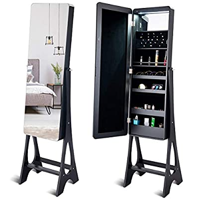 Giantex 15 LED Jewelry Armoire Cabinet with Full Length Mirror, Wooden Bedroom Bathroom Floor Mirror Stand, Jewelry Cabinet Storage with Inner Mirror, Ring Slots, Lipstick Holders (Black)