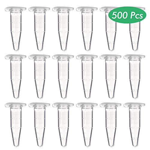 Wandefol 500 Stück Reaktionsgefäß 1,5 ml Stoffkapseln Eppendorf Tubes Kapseln Globulibehälter mit Doppelverschluss, Globuli-Caps mit Deckel Transparent für Kunststoff Test Ampullen Probe
