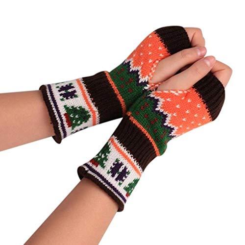 FFSMCQ Kleur Stitching Pop Stijl Kerst Knit Arm Vingerloze Creatieve Winter Handschoenen Unisex Zachte Outdoor Sport Warm Handschoenen
