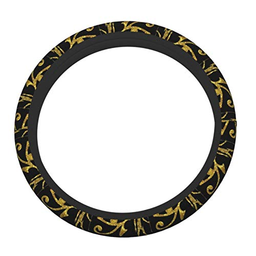 XTing Ancient Egyptian Ankh Gold Steering Wheel Cover, Auto Steering Wheel Cover Protector Anti-Slip Durable Universal 15 Inch Fit Most of Car