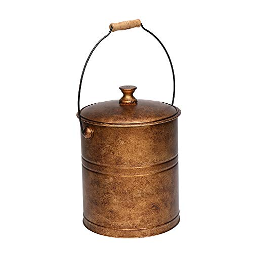 ROVSUN 3 Gallon Ash Bucket with Lid & Flexible Wood Handle, Portable Copper Ash Pail Galvanized Indoor & Outdoor Hearth Tools for Fireplace, Fire Pits, Wood Burning Stoves (Bronze)