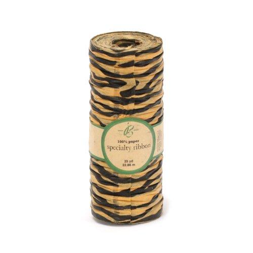 Berwick A10900-80025-B015 Bella Terra Tiger Animal Print Paper Craft Ribbon, 3-1/2-Inch Wide by 25-Yard Spool, Black/Gold