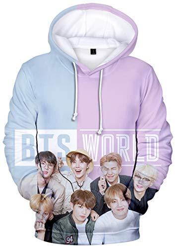 Silver Basic Unisex Bangtan Boys Musikfans BTS Pullover süßer Kapuzenpullover Herbst Hoodies,03425blau-violett,L-3