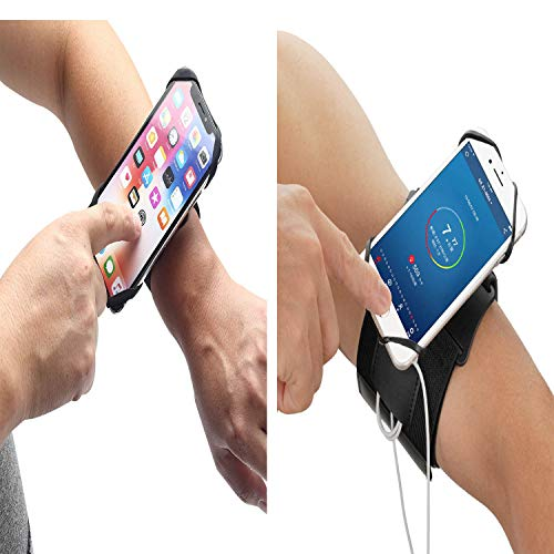 Running Armband Wristband Phone Holder for iPhone Samsung, Sport Armband, 360°Rotatable Forearm Armband for Cycling Fishing Walking Fits All 4-6.5 Inch Smartphones (2 Pack)