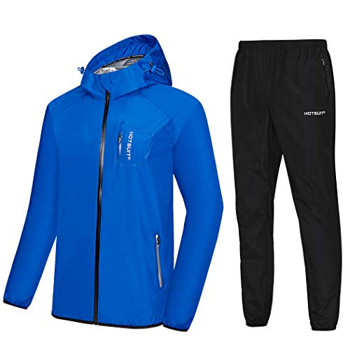 HOTSUIT Sauna Suit Men Weight Loss Anti Rip Sweat Suits Workout Jacket Blue M