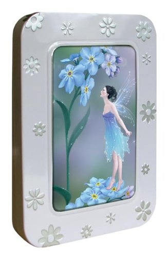 Tree-Free Greetings Noteables Notecards In Reusable Embossed Tin, 12 Card Assortment, Recycled, 4 x 6 Inches, Forget-Me-Not Fairy, Multi Color (76044)