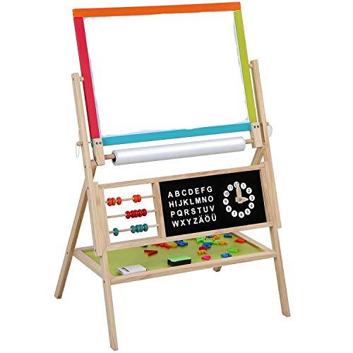Cuddlez Kinder-Tafel inkl. Zubehör - 2 in 1 Standtafel drehbar, anwendbar als Kreidetafel, Magnettafel und Maltafel, magnetisches Whiteboard mit Malpapier, Uhr, Magnet-ABC, Ablage, Farbe Bunt