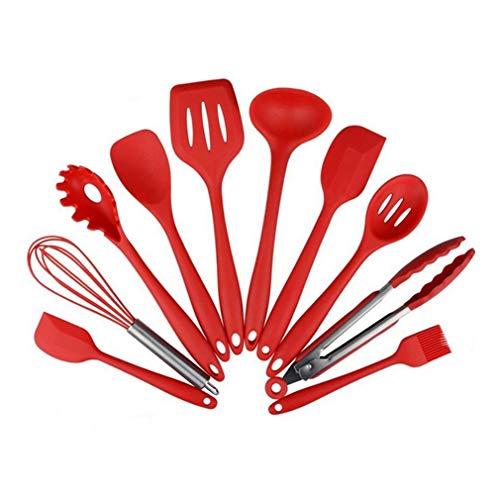 JYKJ Establece Cubiertos 10PCS / Set Ambiental Silicona Aptos for Herramientas prácticas de Cocina casera de la Cocina Vajilla Menaje de Cocina Gadgets Herramientas (Color : Red)