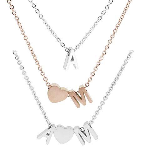 Personalisierte Buchstaben Damen Halskette Choker/Armband aus Edelstahl Namenskette | Karabinerverschluss 45cm + 5cm Extra | Alphabet A-Z | Klassischer schmuck Herz Kette als Geschenk