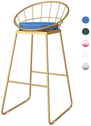 JZX Bar, cafetería, silla de restaurante, cocina de tendencia y desayuno Silla de bar taburete tapizado Asiento redondo 75 cm (29,52 pulgadas),Azul