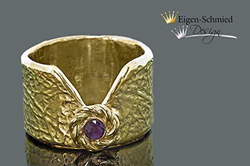 """Goldschmiedering\""""remember\"""" in 925er Sterling Silber mit einer 22 karätigen Goldplattinierung, Damenring, Goldschmuck, Amethsyt, massiver Ring, handgefertigt, Geschenk, Fingerring, accesoirs"""