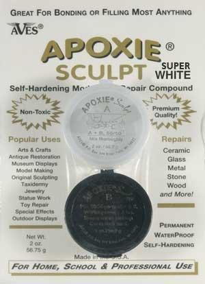 Apoxie Sculpt Super White - 2 Part Modeling Compound (A & B) - 1/4 Pound,...