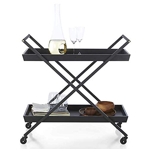 Fantastic Deal! BBG Trolley Recycling Vehicles Multifunction Portable,Serving Cart with Wheel 2 Tier Wooden Panel Bar Wine Kitchen Island Storage Service Cart Dining Rolling Cart with Lockable Caster,Black