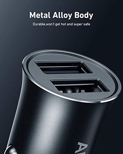 AUKEY Autoladegerät Zigarettenanzünder 24W 4.8A Metall Mini Kfz Ladegerät, Duales USB Autoladegerät Kompatibel für iPhone 12 Pro Max, 12 Pro / 12 Mini/iPhone 11 / Samsung/Nintendo Switch