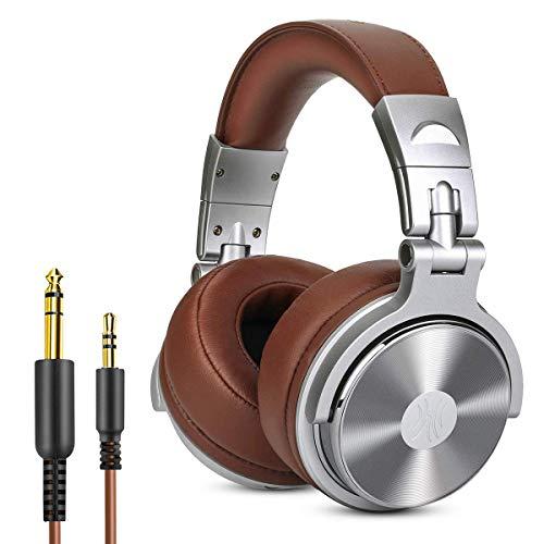 OneOdio Cuffie da Studio DJ chiuse senza adattatore per monitoraggio e missaggio, cuffie in pelle con protezioni, isolamento acustico, alloggiamento ruotabile a 90°, cuffie stereo over ear portatili