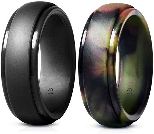 Cosowe Silicone Wedding Ring for Men, Mens Rubber Silicone Wedding Bands - 5 Pack / 2 Pack (2 Pack (Gray, Camo), 8.5-9(18.9mm))