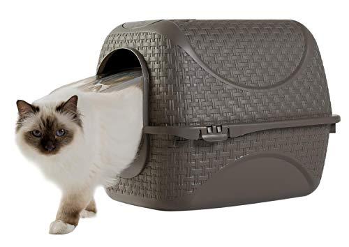 PETGARD Katzentoilette Katzenklo Haubentoilette mit Rattan Optik, Filter und Streuschaufel braun