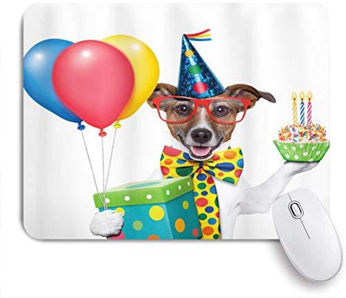 Benutzerdefiniertes Büro Mauspad,Geburtstagsfeier Kellner Server Party Hund mit Hut Kegel Cupcake Luftballons Feier Boxen,Anti-slip Rubber Base Gaming Mouse Pad Mat