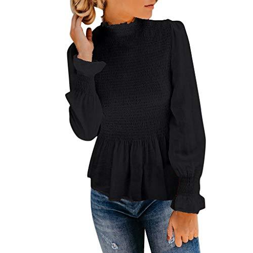 Damen Pullover, Weant Damen Chiffon Bluse 3/4 Arm Tunika Blusen V Ausschnitt Leicht Asymmetrisch Shirt mit Trompetenärmeln