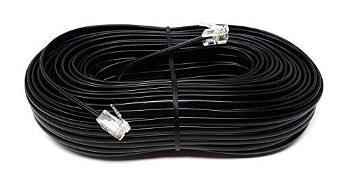 MainCore, Langes, schwarzes, flaches ADSL-Hochgeschwindigkeits-Breitbandmodem-Kabel, RJ11auf RJ11(erhältlich in 1m, 2m, 3m, 5m, 10m, 15m, 20m, 30m) 30m Schwarz