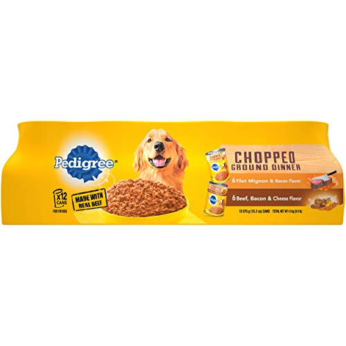 PEDIGREE Chopped Ground Dinner Adult Canned Soft Wet Meaty Dog Food Filet Mignon & Bacon Flavor and Bacon & Cheese Flavor Variety Pack, (12) 13.2 oz. Cans