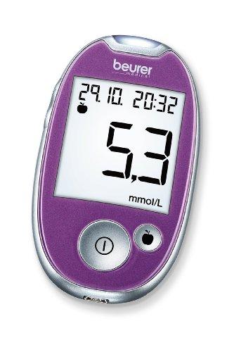 Beurer GL 44 Blutzuckermessgerät mmol/l (Purple, Sichere Blutzuckermessung durch breiten Teststreifen und Blutmengenkontrolle, kompatibel mit HealthManager Software bzw. App)