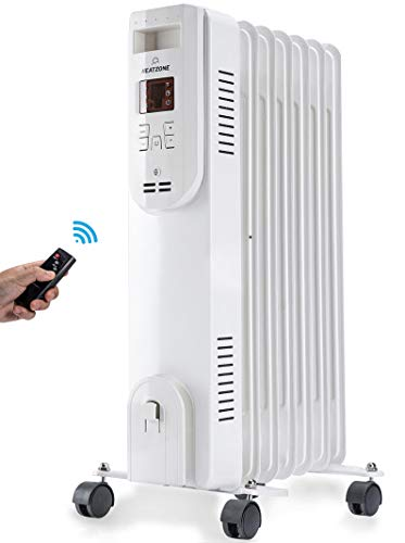 HEATZONE - 1500W - Remote Control Electric Oil-Filled Home Energy-Efficient Portable Space Heater with Adjustable Thermostat Safety Shut-Off - 3 Heat Settings - White Heater Oil Space