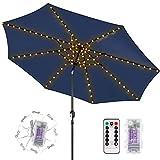 ECOWHO Cadena de luces para paraguas, USB recargable, para sombrilla, 104 ledes, con mando...