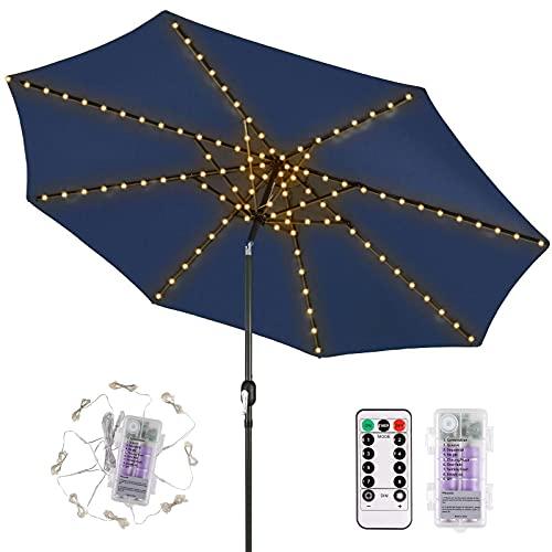 ECOWHO Regenschirm Lichterkette USB Wiederaufladbare Lichterkette für Sonnenschirm, 104 LED Schirmbeleuchtung mit Fernbedieung Timer, IP67 Wasserdicht LED Lichterkette für Schirm Außen Garten Zelten