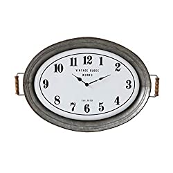 Creative Co-Op Oval Metal Wall Clock with Serving Tray Design